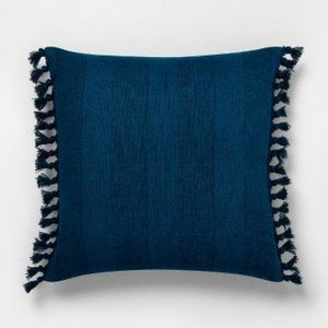 Navy Knotted Fringe Throw Pillow - Hearth & Hand™